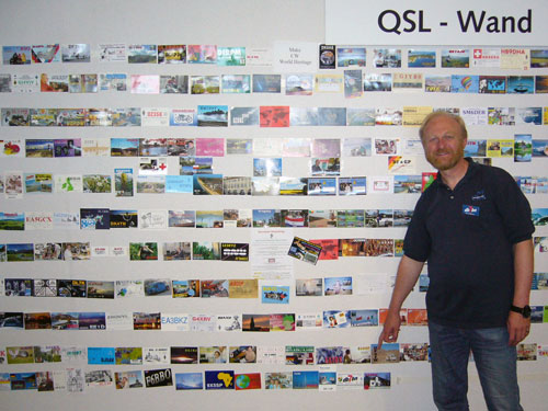my QSL card on the QSL wall of Ham Radio Friedrichshafen 2008